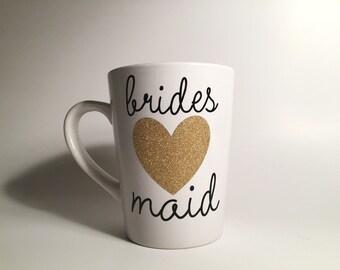Bridesmaid Gift Mug *CUTE* Bridal Party Gift,Gold Glitter, Wedding Party Gift, Wedding Favors, Bridesmaid gift