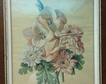 Framed floral print from the mid 1900s