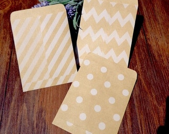 Mini patterned kraft paper - pouches for gifts - wedding, birthday, shop-(x 25) - Sun kraft paper bags: 9 x 11 cm