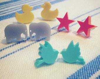 Cute bird stud earrings, acrylic stud earrings, cute animal earrings, laser cut studs, blue bird studs, turquoise studs.
