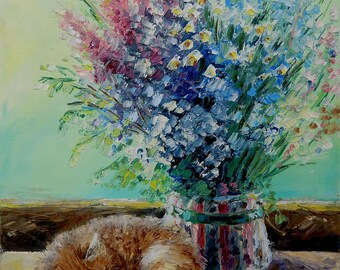 still life oil palette knife painting sun flowers  bouquet ginger cat
