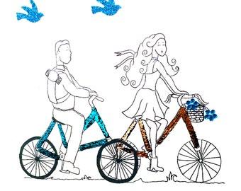 Bike Ride Greeting Card - Boys and girls - Handmade - Blank Inside