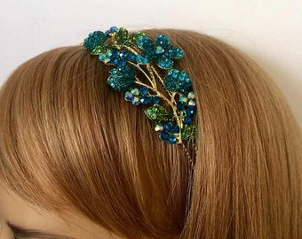 Metal headband hair hoop, Adjustable brass Headband/Wedding hair piece/Boho Headpiece