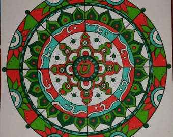 Mandala in Red and Green.