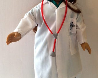 18 Inch Doll Clothes Doctors Lab Coat and Scrubs 8 Piece Outfit Also Fits Like American Girl Doll Clothes