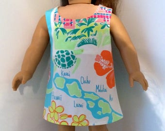 18 Inch Doll Clothes Shift Dress Lilly Pulitzer Fabric With Scenes of Hawaii Fits Like American Girl Doll Clothes
