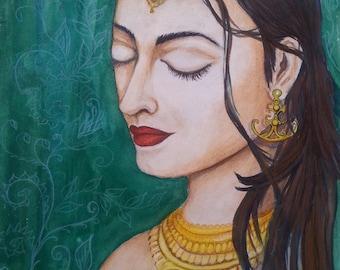Indian woman - original painting - not photocopy