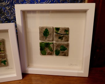 Wall Art Hand-made Tiles - Grey and Green with White Wooden Frame