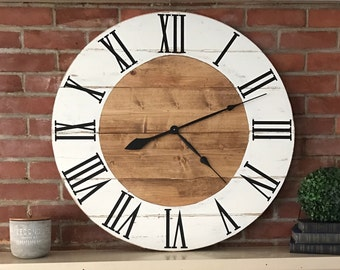 Large Distressed Farmhouse Clock -stained w/white border - Rustic Home Decor- Farmhouse Style - fixer upper-Housewarming - Large Wall Clock