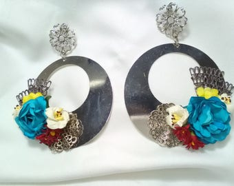 Silver plated brass earrings with colorful flowers and silver filigree, hoop earrings, flamenco dress, Valentine's Day gift