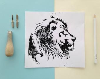 Lino print lion