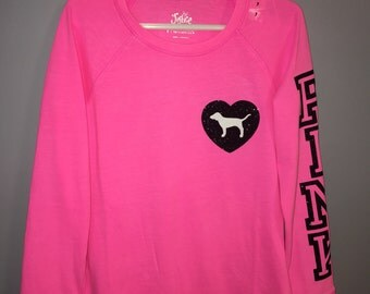 Pink bling glitter custom top shirt dog heart