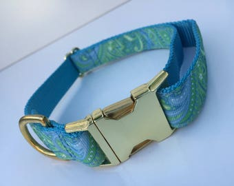 Pretty Green Paisley Dog Collar
