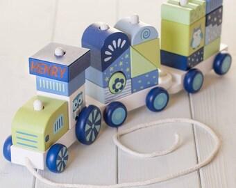 Personalised Blue Building Blocks Train