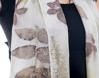 Leaf Printed Silk Scarf