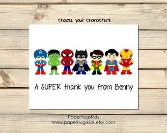 PRINTABLE Superhero Stationery - Superhero Note Cards - Personalized Note Cards - Superhero Thank You Cards - Superhero Notecards/Digital