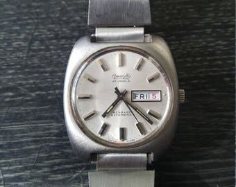 VINTAGE 1970s Amaryllis Automatic Working Silver Watch
