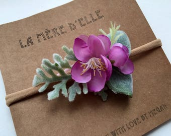 Baby girl headband flower headband baby gift baby shower gift non marking band Spring Collection Purple