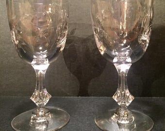 Tiffin - Franciscan Vintage Pair of Water Goblets - Marcella -1960s