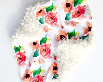 READY TO SHIP, Floral Lovey blanket, girl lovey, Baby girl Blanket, lovey, minky lovey, tag lovey, baby lovey, lovey blanket, baby girl,gift