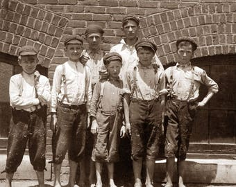 """1912 Young Mill Workers, Rock Hill, South Carolina Vintage Photograph 8.5"""" x 11"""""""