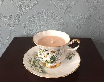 Royal London bone china teacup and saucer candle