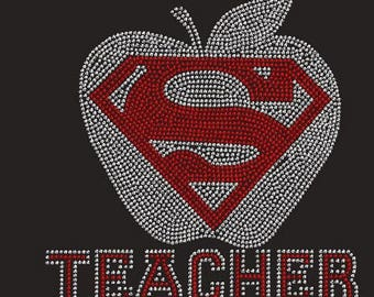 Teacher Super Rhinestone Ladies T Shirt or DIY Iron On T Shirt Transfer                 sv ZHN