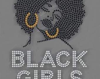 Rhinestone Afro Girls Rock Lightweight T-Shirt or DIY Iron On T Shirt Transfer                                          QBT3