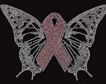 Rhinestone Breast Cancer Butterfly  Ladies T Shirt or DIY Iron On Transfer              HWFH