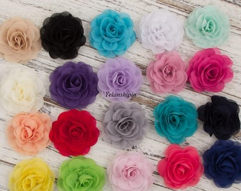 8.5cm Newborn Chiffon Petals Poppy Flower For Baby Hair Clip/Headband Rolled Rose Fabric Flowers For Baby Girls Hair Accessories