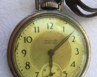 Antique 1930s Westclox Pocket Ben Two-Tone Pocket Watch