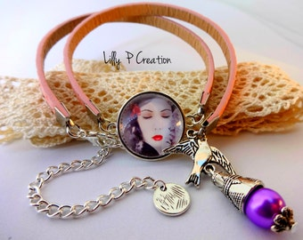 Pink leather bracelet and cabochon woman face
