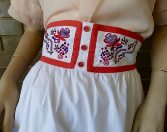 High Waisted Peasant Patterned White Skirt