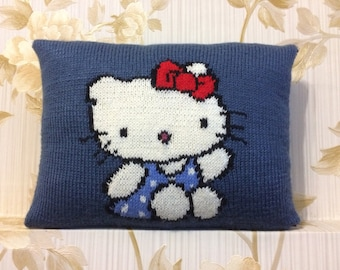"""Decorative knitted pillow """"Hello Kitty"""""""
