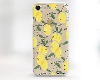 Lemons iphone case clear phone case summer iphone 7 case transparent Case Botanical Lemons iPhone 6s Case Rubber Case iPhone 5 Case TPU Case
