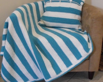 Blue and White Striped Crotchet Throw Rug / Blanket with Matching Cushion