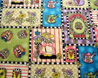 Country Fabric Spring Flower Cotton By the Yard 36 Inches Long