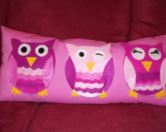 Pink Owl Lumbar Pillow