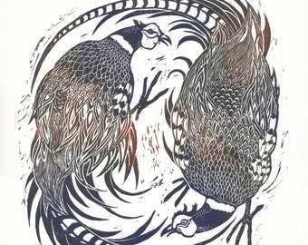 Original hand burnished linocut print of two pheasants entitled 'Pheasant Fest', limited edition, original art, bird art, hand made