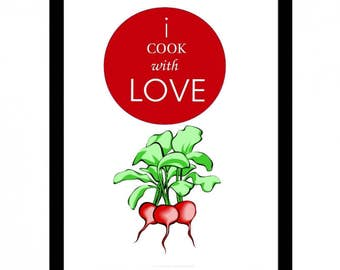 Printable quote I COOK WITH LOVE, kitchen, cook