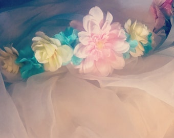 Pastel flower crown- pink, blue, yellow