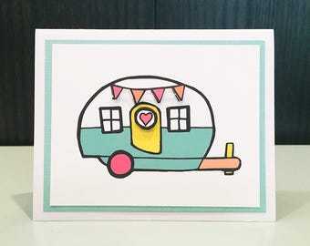 Blank Notecard w/ Envelope: Camper Illustration