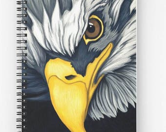 Yellow blue eagle - print reproduction art sketchbook drawing spiral a5 - art digital painting portrait animal bird illustration.