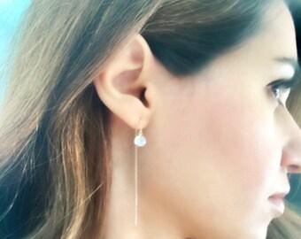 Dainty Gold Earrings. Gold Threader Earrings. Bridesmaid gift. Minimalist Earrings. Sterling silver Earrings. Long Earrings. Gold Filled .