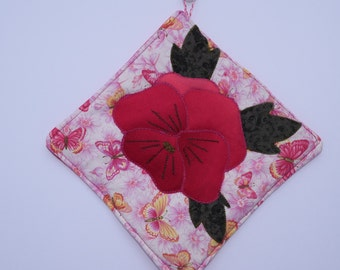 Pansy Quilted Appliqued  Heat Resistant Pot Holder