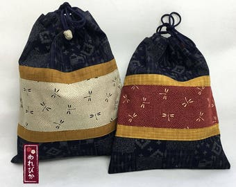 Set of 2 Drawstring Bags Japanese style Pattern fabrics Navy Set Sell   - Free Shipping!