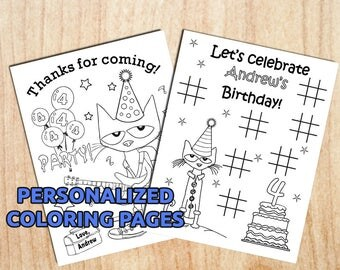 Custom Pete the Cat Party Coloring Pages / Personalized / Printable / Party favor / Activity / Digital / PDF