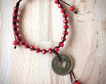 Flat knot Birthstone Shamballa bracelet