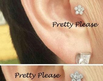 Flower Screw On Tragus Bar  Helix Stud  Cartilage Ear Ring Piercing Body Stud