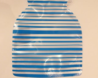 Pvc FLOWER VASE-modern design-clear with blue horizontal lines ...